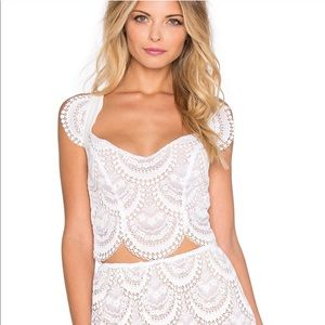 For love and lemons white lace crop Top medium